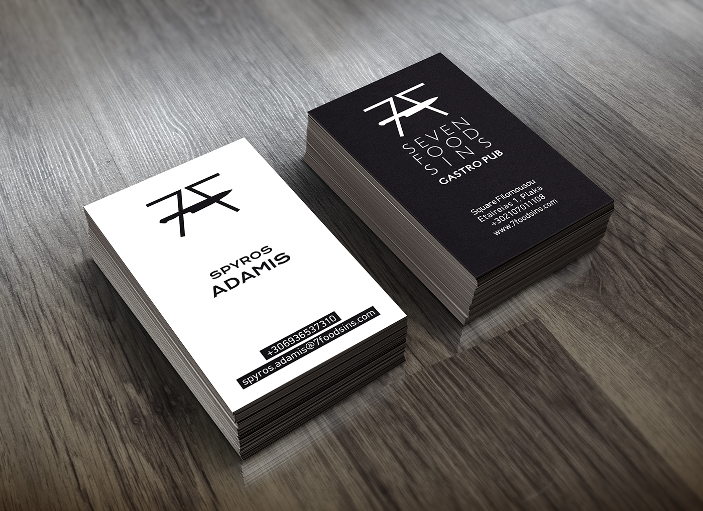 7 food sins business cards